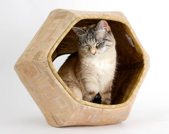Cat Ball Cave - Cotton Fabric Cat Bed With Visible Mending Look Fabric