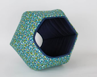 Cat Ball Modern Cat Bed - Mod Geometric in Blue, Green and White
