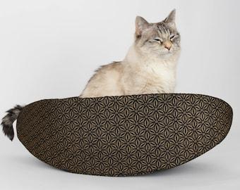 Cat Canoe - Narrow Cat Nest in Antique Gold Flowers on Black