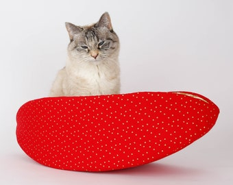 Cat Canoe - Christmas Cat Bed - Red, Ivory and Metallic Gold Fabric Cat Nest