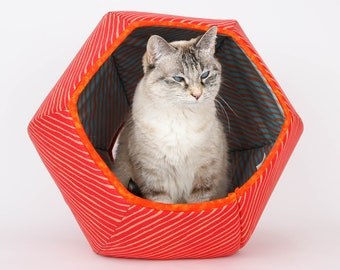 Cat Ball Modern Cat Bed - Orange and Blue Complimentary Color Stripes