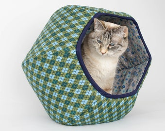 Cat Ball Cat Bed - Lodge Look Covered Cat Cave in Blue and Green Plaid With Floral Lining