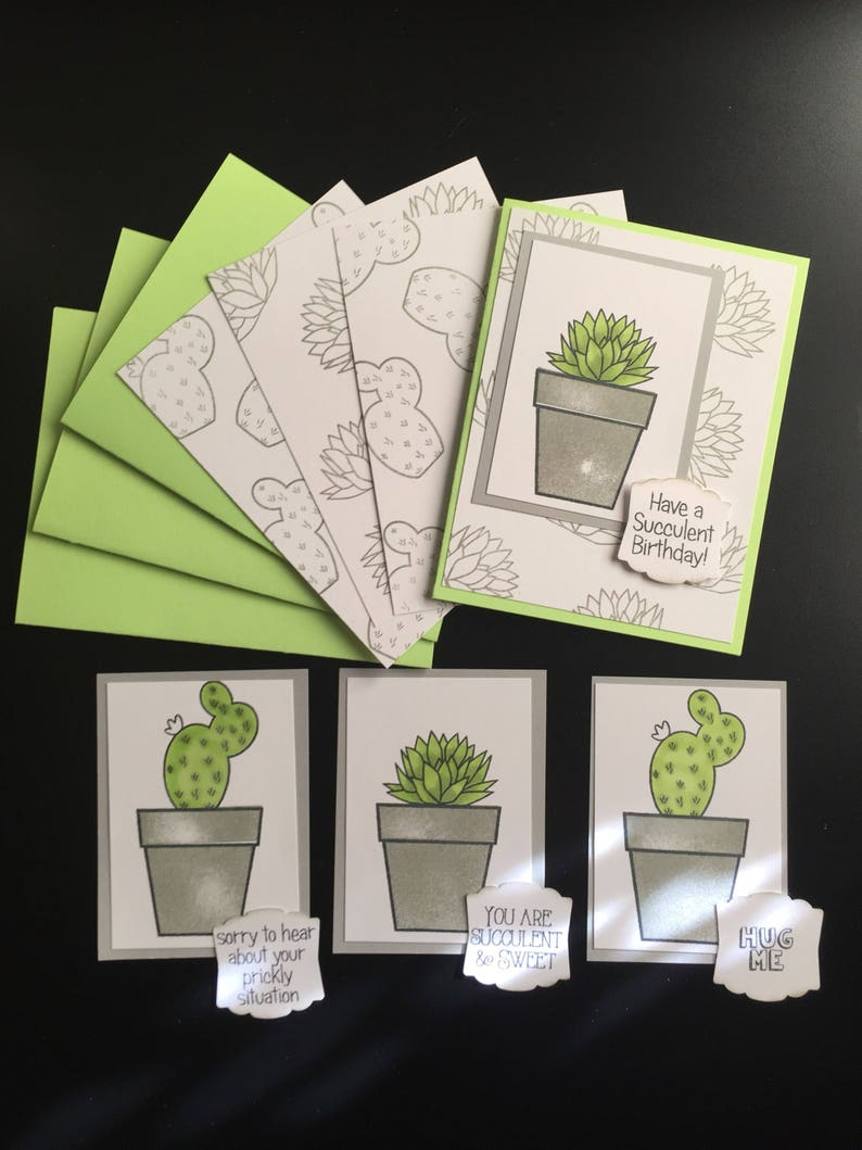 Card kit set of 4 cactus, succulents colored with Copic Markers All  Occasion different sentiments