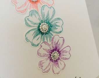 """Stampin' Up Card Kit Colorful Flower Shop """"For You"""""""