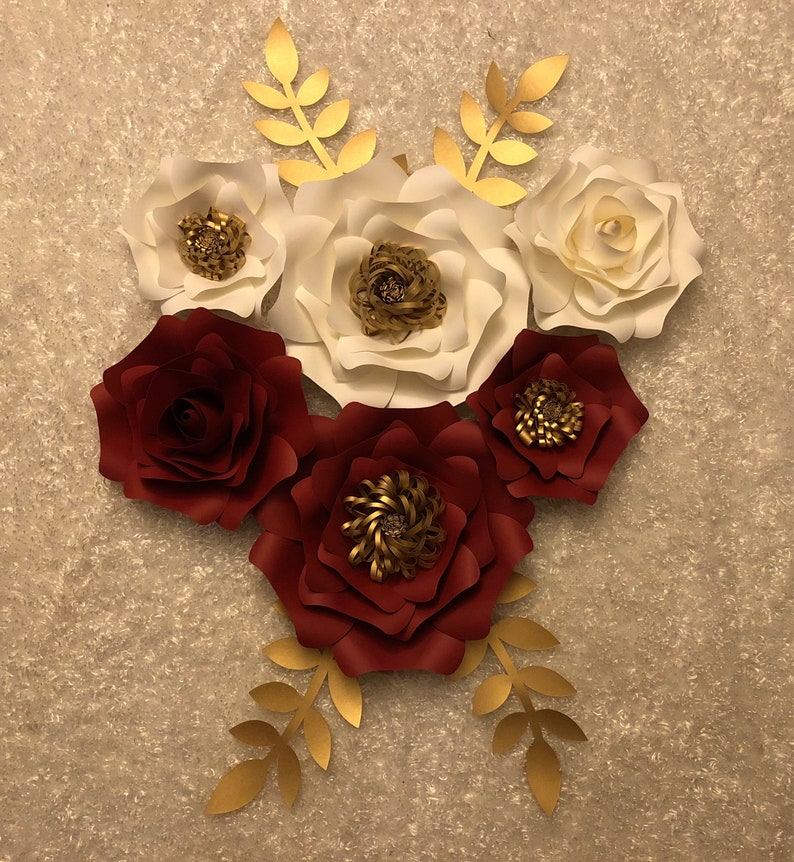 Paper Flowers Set Of 6 With Leaves Red White And Gold Backdrop Nursery Party Home Wedding Decor