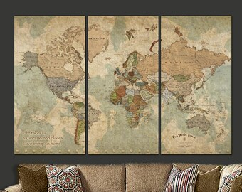 Push Pin Travel Map of World, World Map Canvas Wall art, Push Pin Map,  World Travel Map, Large Wall art, Fathers Day Gift