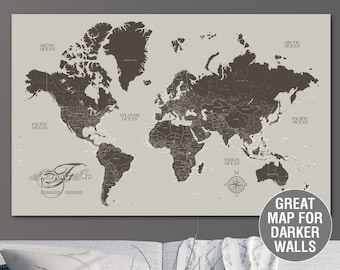 greige taupe push pin travel map world custom push pin world map canvas