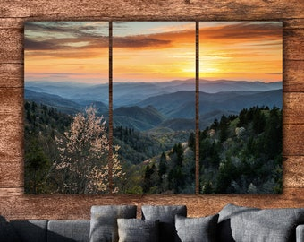 7a6fbefb93e51 Smoky Mountain Sunset on Canvas