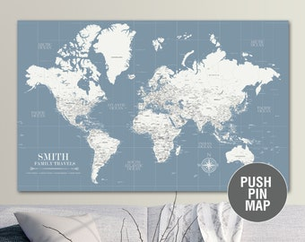 Push pin world map | Etsy