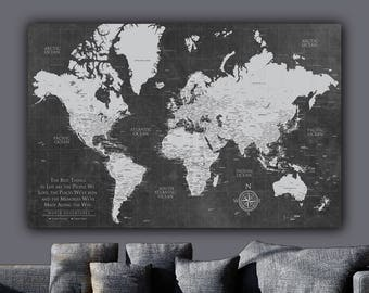 Current Push Pin World Map ONE Panel,  World Map Canvas, Custom Travel Map, Push Pin Travel Map World, Travel Gifts, World Map Wall art