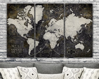 Push pin map etsy industrial detailed push pin travel map world 3 panel set push pin map world canvas map large wall art industrial art world map art gumiabroncs Image collections