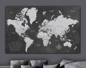 Grey Push Pin World Map Personalized 1-Panel Canvas, Custom Travel Map, Push Pin Map, Travel Gifts, World Map Push Pin, Cotton Anniversary