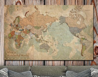 Large Vintage Map Of The World.World Map Canvas Etsy