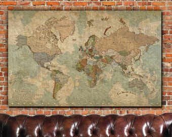 Push pin map etsy push pin travel map of world 1 panel vintage map push pin map large wall art world map push pin travel gift canvas map quotes gumiabroncs Gallery