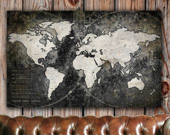Industrial Push Pin World Map-SINGLE, Vintage Map, Push Pin Travel Map Art, World Map Canvas, Large Wall art, Push Pin Map, Gift for Dad