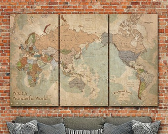Push Pin Map of the World Map with Countries, Large Wall art, Vintage Map, Travel Map, Push Pin World Map, AFRICA LEFT, Travel Gifts
