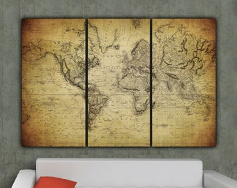 Vintage World Map Art.World Map Canvas Etsy