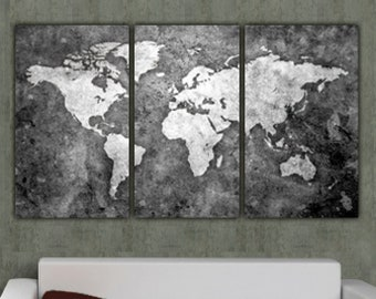 Holy cow canvas etsy world map art on canvas bw 3 panel gallery wrap wall art set for home or office art world map poster world map canvas canvas wall art gumiabroncs Choice Image