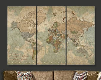World map canvas etsy travel map of world on canvas world map decor world map canvas art gumiabroncs Image collections