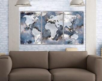 Canvas world map   Etsy