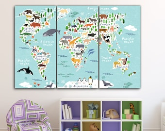Animal map canvas etsy more colors world map gumiabroncs Choice Image