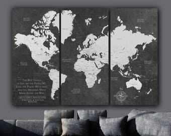 Current push pin world map personalized 1 panel canvas custom etsy current push pin world travel map canvas map art world map canvas art push pin custom map large wall art push pin travel map gifts gumiabroncs Images