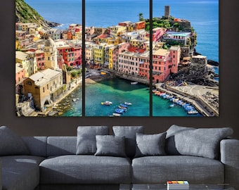 Cinque Terre Italy on Canvas, Beautiful Large Canvas Print, Travel Art at its finest, Italy Canvas Painting, Cinque Terre Photo, artwork
