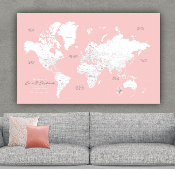 Millennial Pink Push Pin Travel Map of World, Custom Push Pin World Map,  Canvas Map, Travel Gifts, Large Travel Map Canvas, Personalized Map