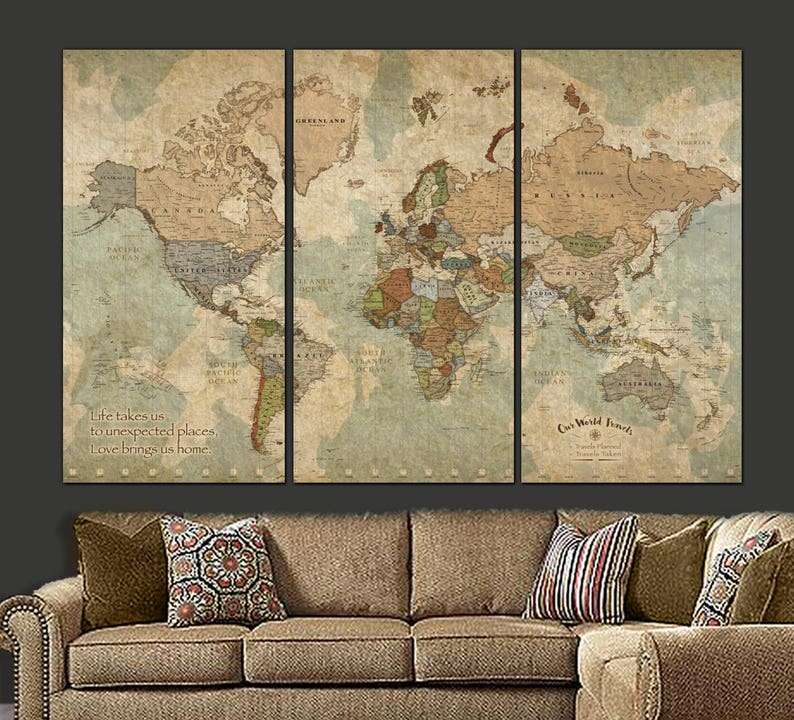 Canvas Map Of World.Push Pin Travel Map Of World Personalized Gift For Travelers Etsy