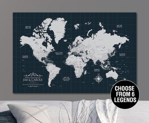 Navy Push Pin Travel Map World, Custom Push Pin World Map, Canvas Map,  Travel Gifts, Travel Map Canvas, Push Pin Map, Personalized Map