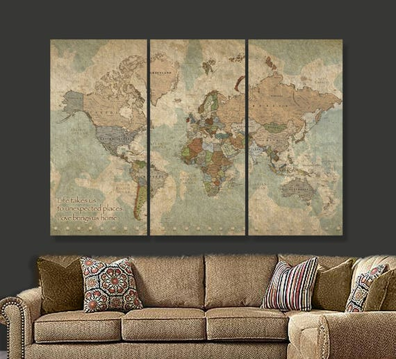 Travel map of world on canvas world map decor world map etsy image 0 gumiabroncs Image collections