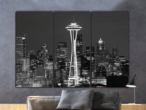 seattle skyline canvas b w large wall art seattle photo etsy