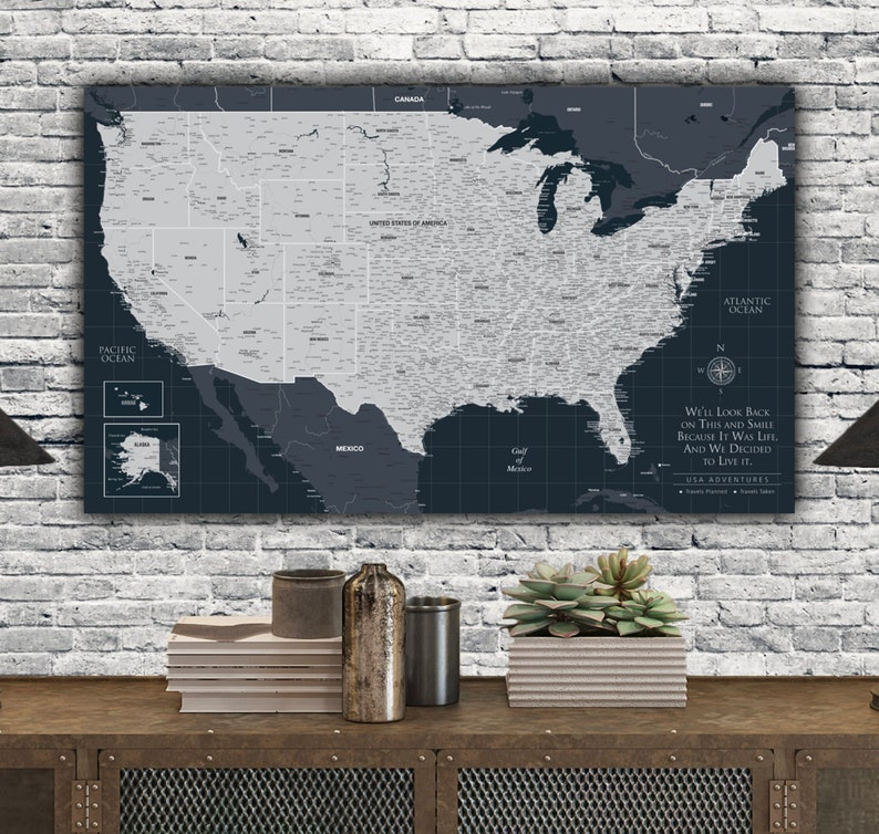 Navy USA Push Pin Map Personalized Canvas, Custom Travel Map, Detailed  United States Map with Push Pins, Large Wall Art, Great Travel Gift