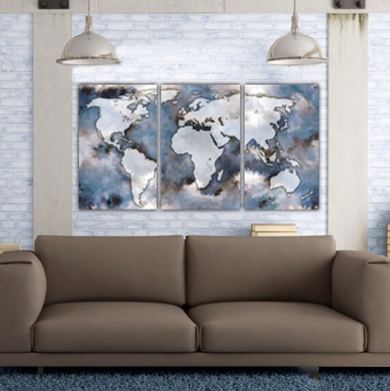Large world map art on canvas gallery wrap canvas world map etsy image 0 gumiabroncs Choice Image
