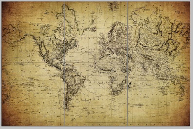 Vintage World Map Art.1850 Vintage World Map Art On Canvas Vintage Map Set For Home Or