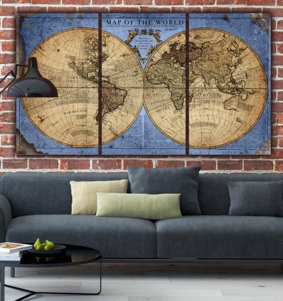 Globe World Map Canvas Blue/Tan. Large wall art canvas wall | Etsy