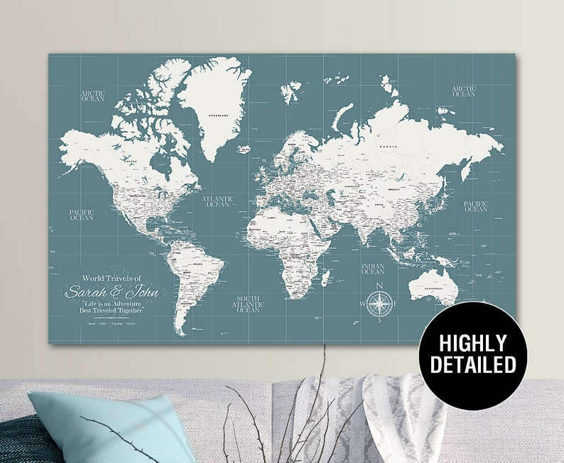 Teal Push Pin Travel Map World, Custom Push Pin World Map, Canvas Map,  Travel Gifts, Travel Map Canvas, Push Pin Map, framed map, custom map