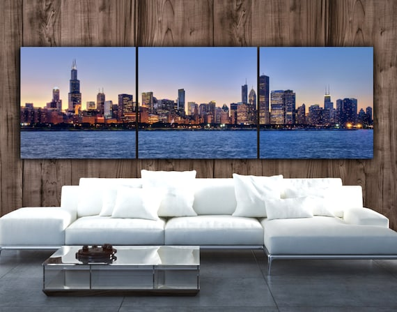 Chicago Skyline on Canvas Large Wall Art Chicago Print | Etsy