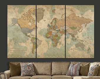 Push Pin Travel Map of World, personalized gift for travelers, Modern Vintage Look Push Pin Map, World Map Push Pin Extra Large Wall Art