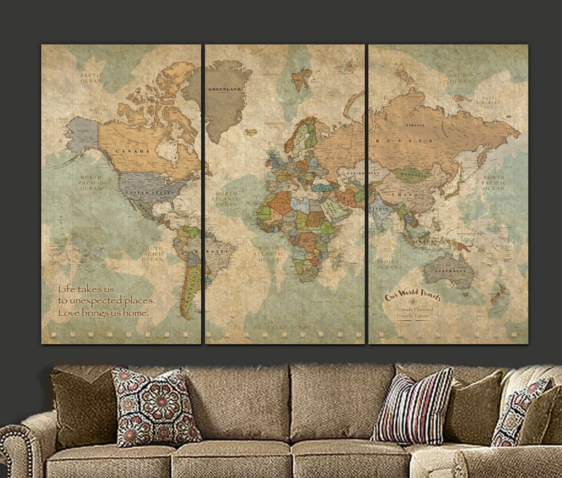 Push Pin Travel Map of World personalized gift for travelers image 0