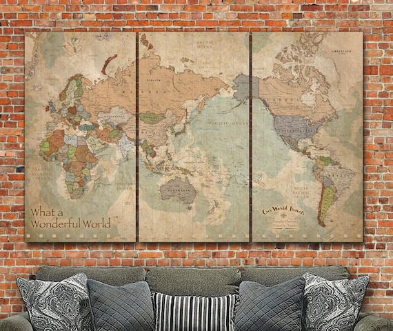 Push Pin Map of the World Map with Countries Large Wall art   Etsy