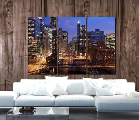 Chicago Skyline Canvas Set Large Wall art of Chicago Print | Etsy