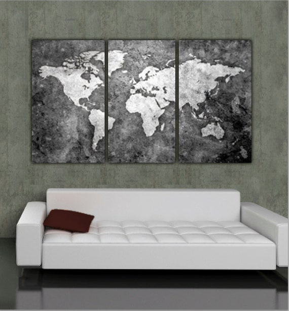 World map art on canvas bw 3 panel gallery wrap wall art gumiabroncs Choice Image