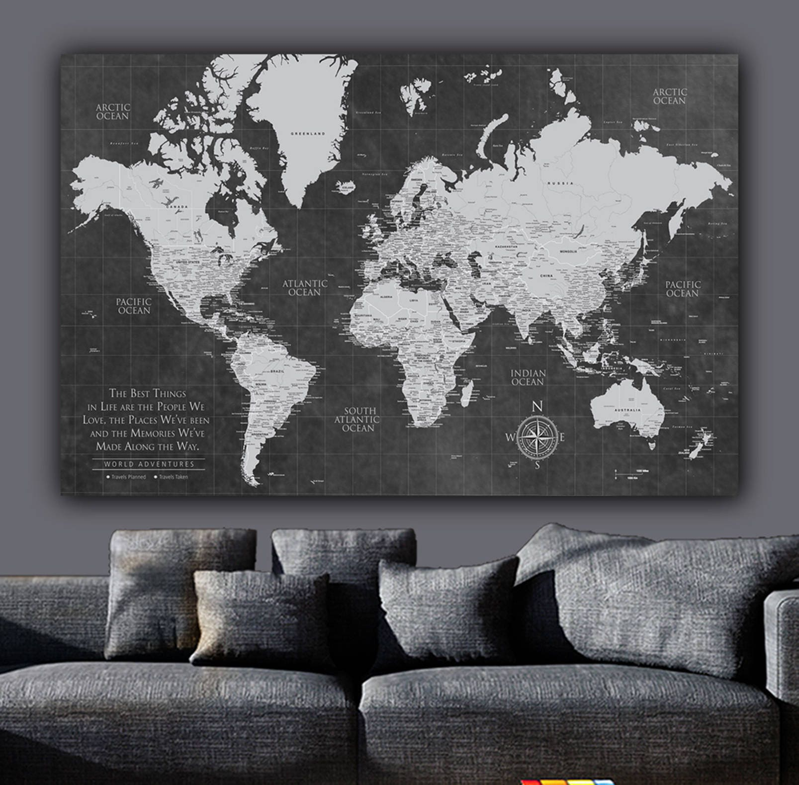 Current Push Pin World Map ONE Panel World Map Canvas