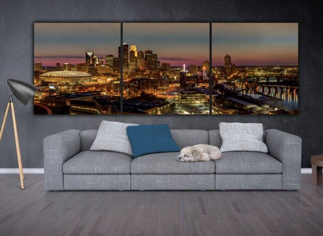 Minneapolis Skyline on Canvas Large Wall Art Minneapolis | Etsy