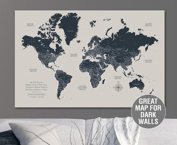 Greige & Navy Push Pin Travel Map World, Custom Push Pin World Map, Canvas  Map, Travel Gifts, Large wall art, Push Pin Map, wanderlust