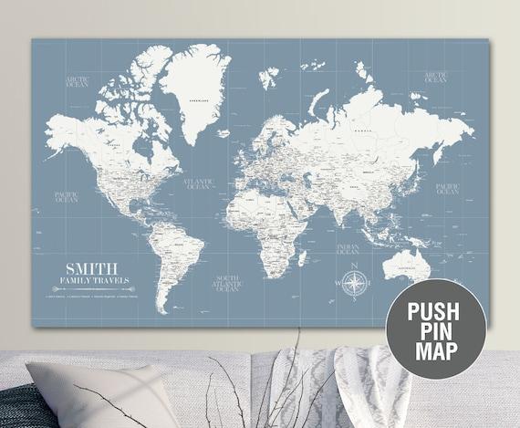 Slate Blue Push Pin Travel Map World Custom Push Pin World | Etsy