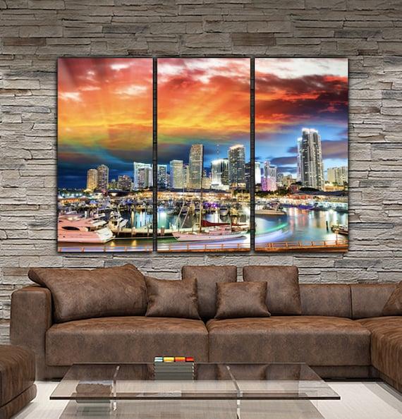 Miami Skyline Canvas Set Large Wall art of Miami Print Miami | Etsy