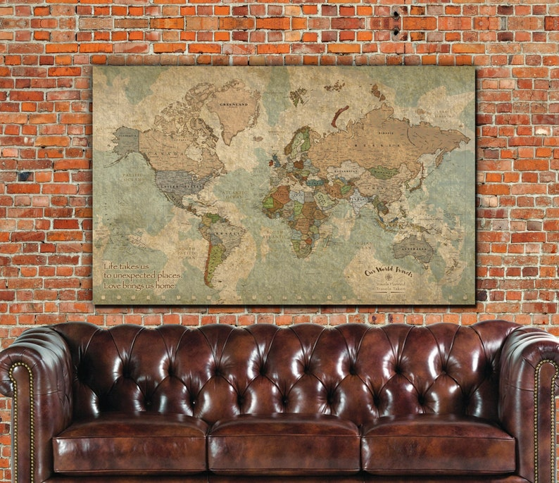 Push Pin Travel Map of World Customized Map Framed One Panel image 0