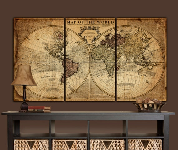 Large Vintage Map Of The World.Globe Tan Map World Map Canvas Vintage Map Set Large Wall Etsy